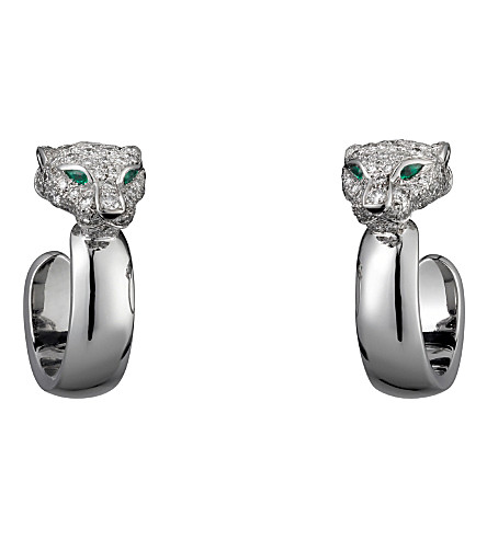 CARTIER Panthère de Cartier 18ct white-gold, diamond, onyx and emerald earrings