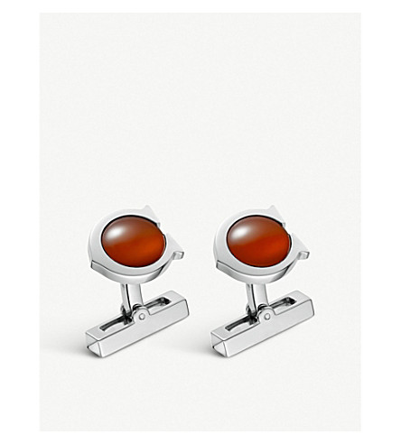 CARTIER C de Cartier sterling silver and carnelian cufflinks