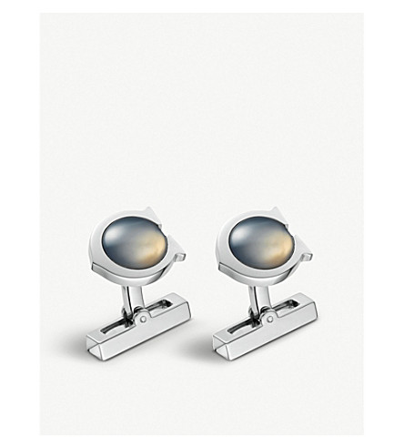 CARTIER C de Cartier sterling silver and chalcedony cufflinks