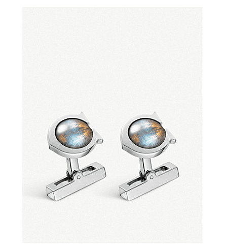CARTIER C de Cartier sterling silver and labradorite cufflinks