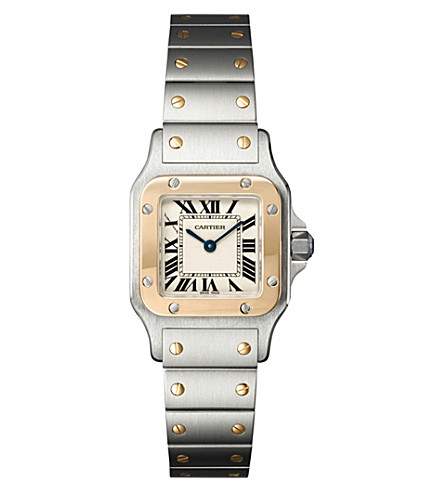 CARTIER Curved Santos 18ct yellow gold and stainless steel watch