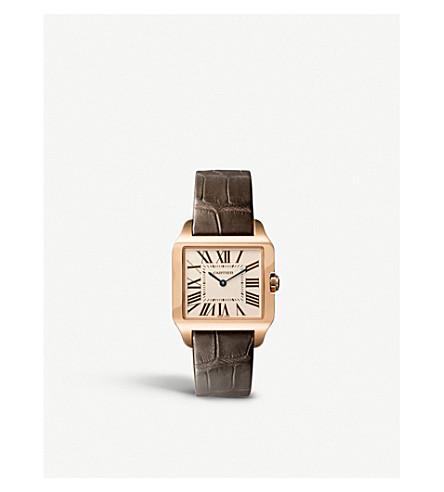 CARTIER 桑托斯18ct 粉红色金色和皮革手表