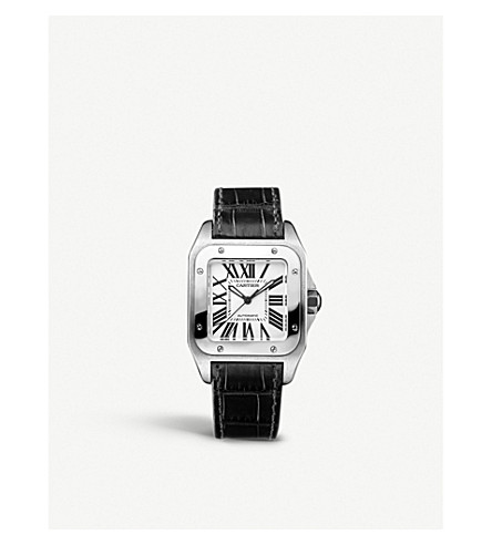 CARTIER Santos stainless steel and leather watch