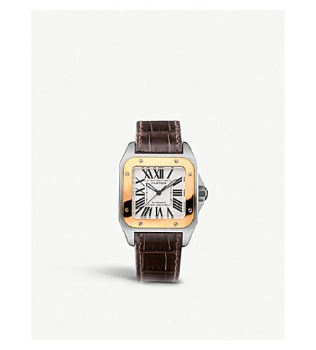 CARTIER 桑托斯 100 18 ct 粉色黄金和皮革手表