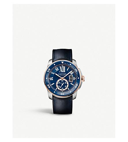 CARTIER 口径 de Cartier 潜水员18ct 粉红色金色, 不锈钢皮表带腕表