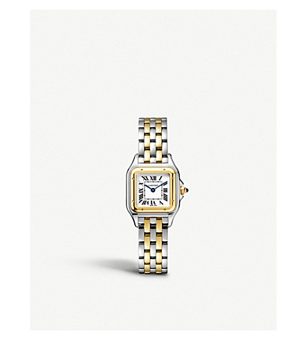 CARTIER Panthère de Cartier small 18ct yellow-gold and stainless steel watch