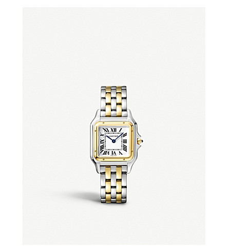 CARTIER Panthère de Cartier medium 18ct yellow-gold and stainless steel watch