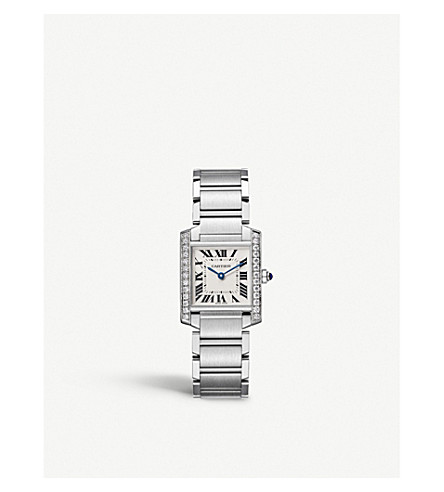 CARTIER Tank Française steel and diamond watch
