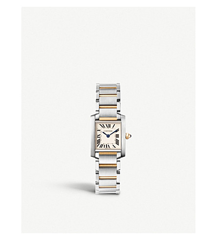 CARTIER Tank Française 18ct yellow-gold and stainless steel watch