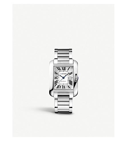 CARTIER Tank Anglaise stainless steel watch