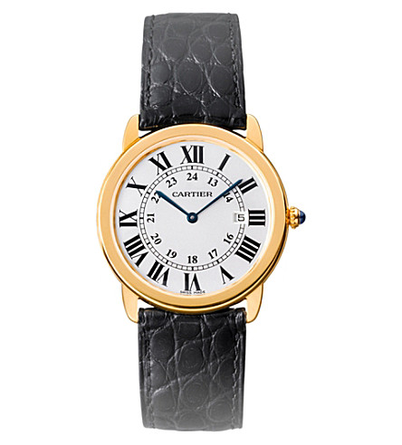 CARTIER Ronde Solo de Cartier 18ct yellow-gold, leather and stainless steel watch