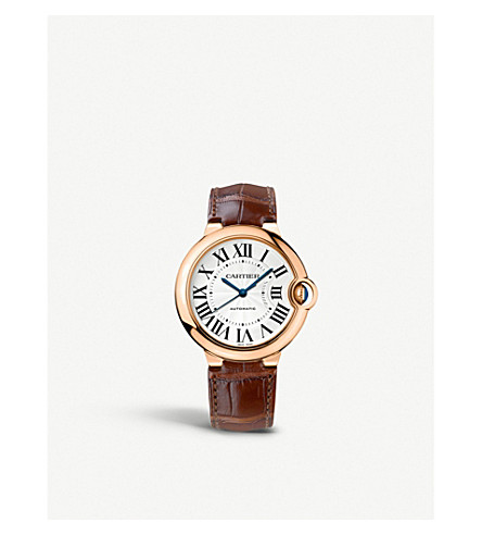 CARTIER Ronde Solo de Cartier 18ct pink-gold and leather watch