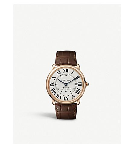 CARTIER 主题路易18ct 粉红-金色和皮革手表