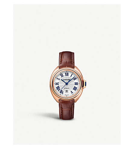 CARTIER Clé de Cartier 18ct pink-gold and leather watch