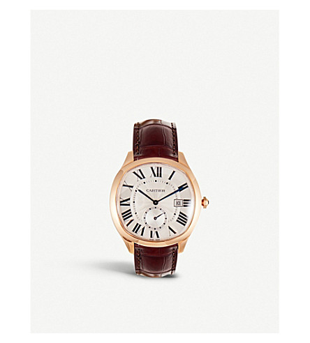 CARTIER Drive de Cartier 18K pink-gold and alligator-skin watch