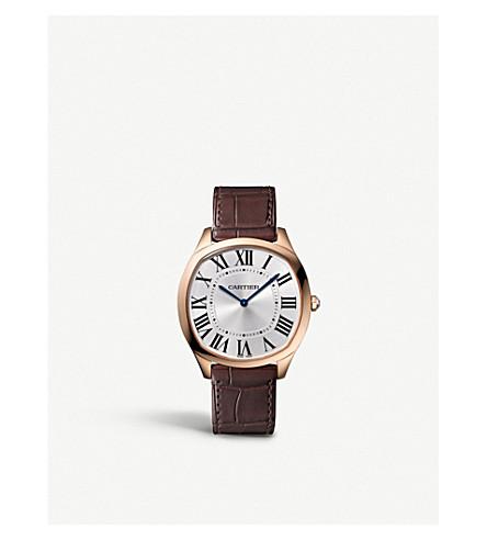 CARTIER Drive de Cartier 18ct pink-gold and alligator-skin watch