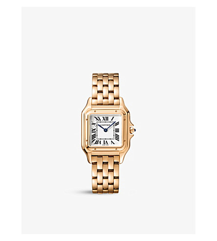 CARTIER Panthère de Cartier medium 18ct pink-gold and sapphire watch