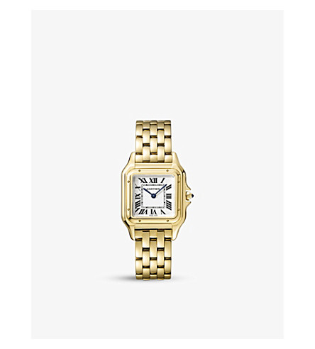 CARTIER Panthère de Cartier small 18ct yellow-gold and sapphire watch