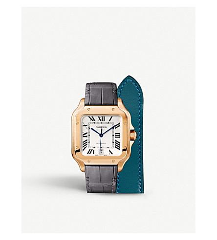 CARTIER Santos De Cartier 18ct pink gold automatic watch