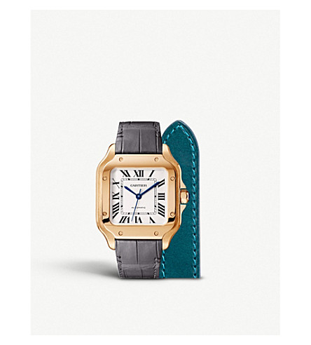 CARTIER Santos De Cartier 18ct pink gold automatic watch