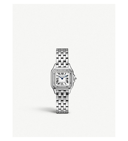 CARTIER Panthère de Cartier small 18ct white-gold and diamond watch