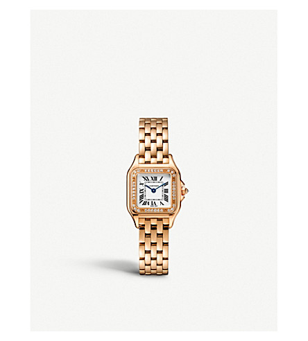 CARTIER Panthère de Cartier small 18ct pink-gold and diamond watch