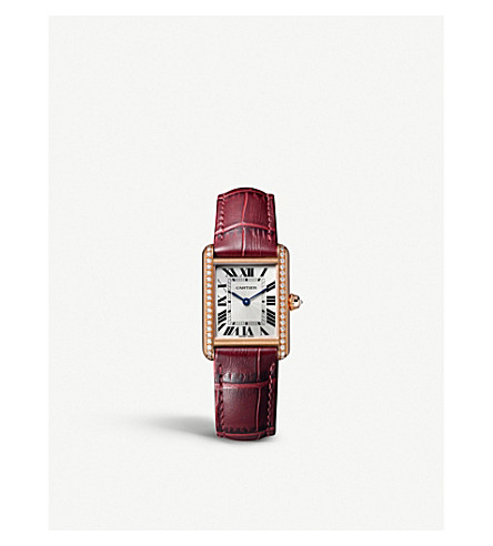 CARTIER Tank Louis Cartier 18ct pink-gold, alligator-leather and diamond watch