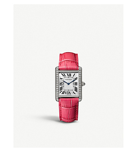 CARTIER WJTA0015 Tank Louis Cartier 18ct white-gold, alligator-leather and diamond watch