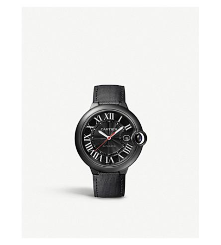 CARTIER 蓝气球 de Cartier 碳和皮革手表