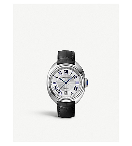 CARTIER Clé de Cartier steel and alligator-leather watch
