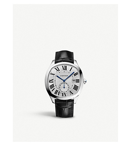 CARTIER Drive de cartier steel and alligator-skin watch