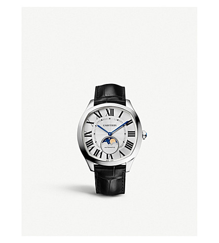 CARTIER CRWSNM0008 Drive de Cartier Moon Phases alligator-leather and stainless steel watch