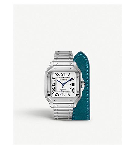 CARTIER Santos de Cartier steel and calfskin watch
