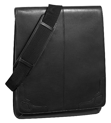 CARTIER Saddle-stitched line flat reporter bag (Ebony