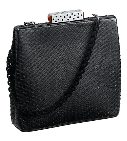 CARTIER Square snake skin clutch bag (Black