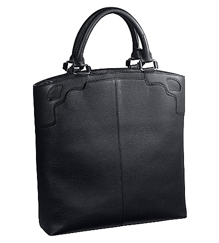 CARTIER Saddle-stitched leather tote (Ebony