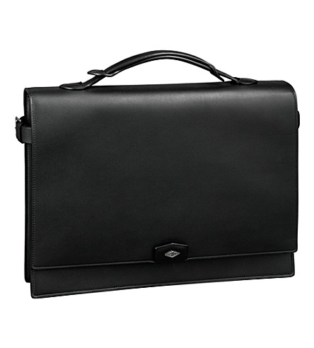 CARTIER Louis Cartier two-gusset leather briefcase (Black