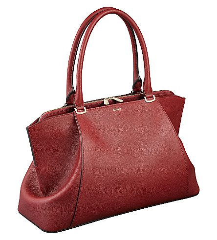 CARTIER C de Cartier leather medium tote (Red