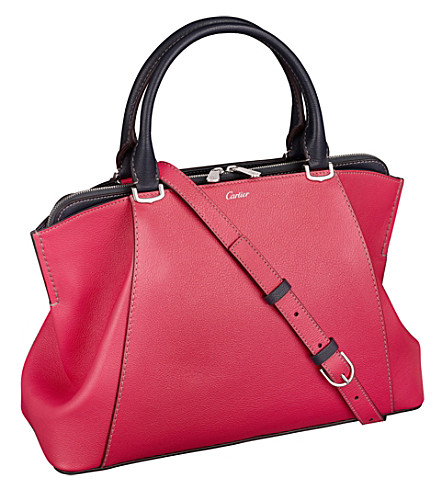 CARTIER C de Cartier leather small tote (Morganite+smoky