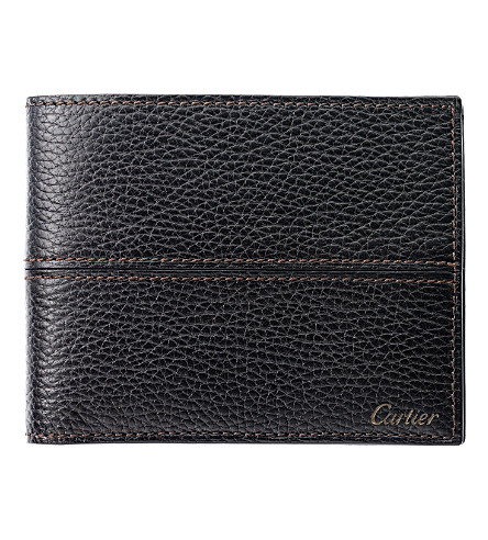 CARTIER Saddle-stitched 3 slot credit card holder (Ebony