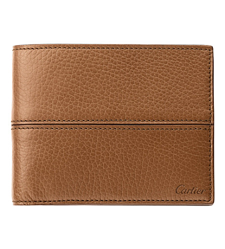 CARTIER Saddle-stitched 6 slot credit card holder (Tobacco
