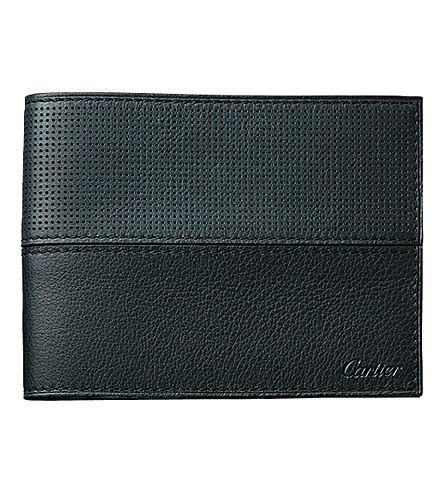 CARTIER Saddle-stitched line leather wallet (Green