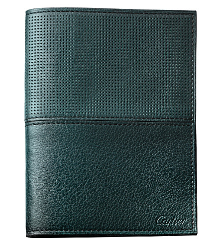 CARTIER Saddle-stitched line 6-credit card/passport wallet (Green