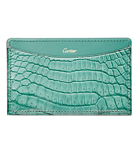 CARTIER C de Cartier crocodile-leather and calfskin card holder