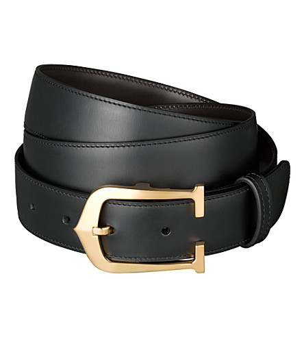 CARTIER Elongated C reversible buckle belt (Black/brown