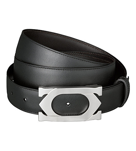 CARTIER Double C logo buckle belt (Black/brown