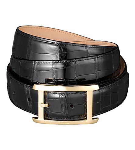 CARTIER Porosus crocodile-leather buckle belt (Black