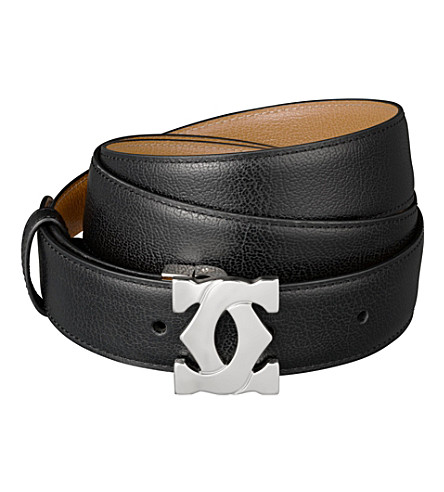 CARTIER Double-C leather logo belt (Black/tobacco