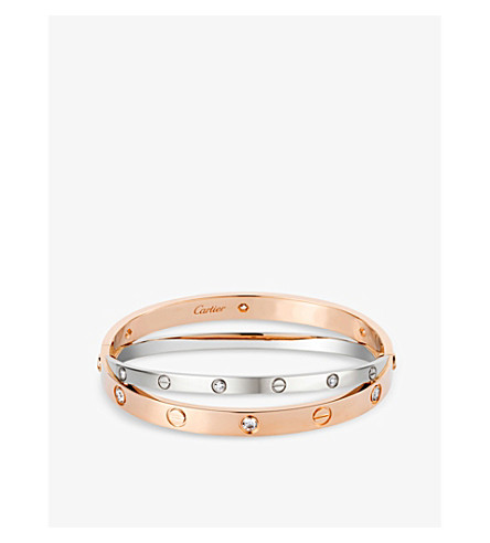 CARTIER Love 18ct pink and white-gold diamond bracelet