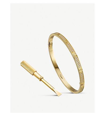 CARTIER LOVE 18ct yellow-gold and diamond pave bracelet small (Yellow+gold